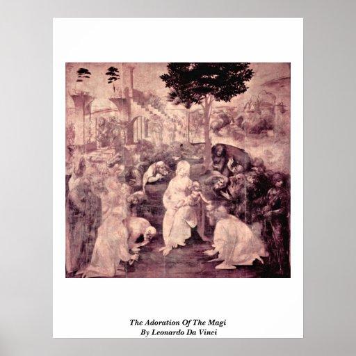 La adoración de unos de los reyes magos cerca póster