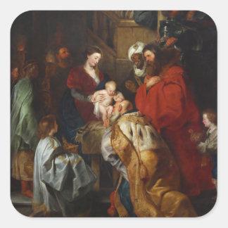 La adoración de unos de los reyes magos de Peter Pegatina Cuadrada