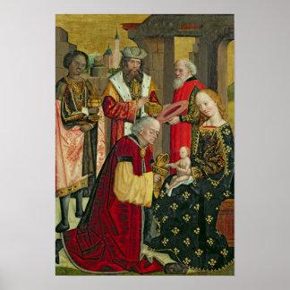 La adoración de unos de los reyes magos, del altar póster