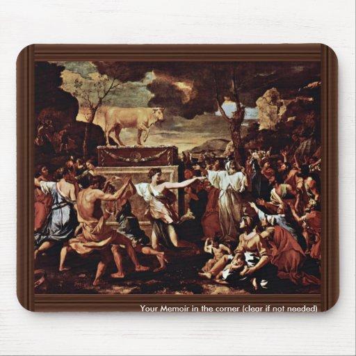 La adoración del becerro de oro de Poussin Nicola Alfombrillas De Ratón