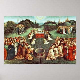 La adoración del cordero místico de Eyck Huberto Póster