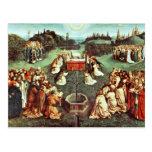 La adoración del cordero místico de Eyck Huberto Tarjeta Postal