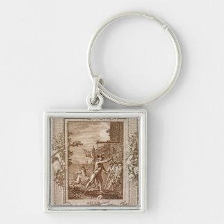 La adquisición de Córcega en 1768 Llavero Cuadrado Plateado