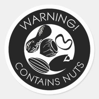 La advertencia blanco y negro contiene símbolo pegatina redonda