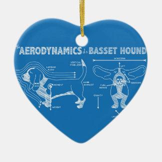 La aerodinámica de Basset Hound Adorno Navideño De Cerámica En Forma De Corazón