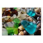 La ágata de cristal azul del mar verde de la playa tarjeton