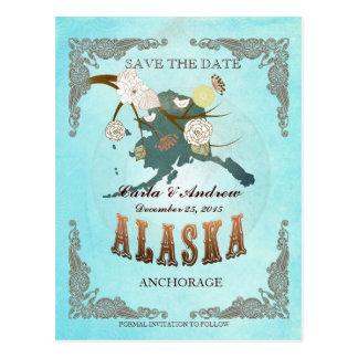 La aguamarina ahorra la fecha - mapa de Alaska con Postal