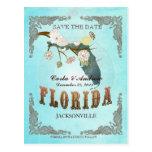 La aguamarina ahorra la fecha - mapa de la Florida Postales