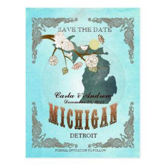 La aguamarina ahorra la fecha - mapa de Michigan Postal
