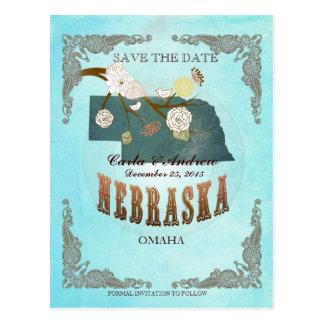 La aguamarina ahorra la fecha - mapa de Nebraska c Postal