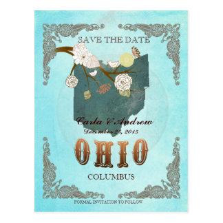 La aguamarina ahorra la fecha - mapa de Ohio con Postal