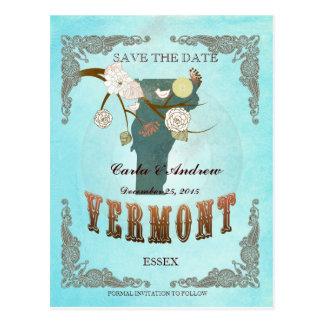 La aguamarina ahorra la fecha - mapa de Vermont Postal
