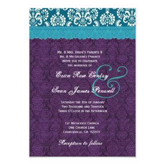 La aguamarina azul y la púrpura puntea la invitación 12,7 x 17,8 cm
