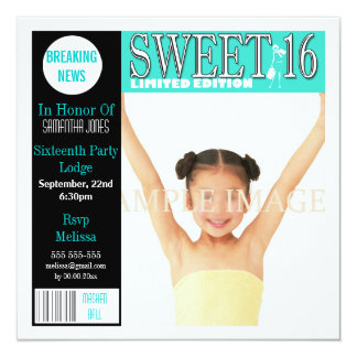 La aguamarina de la revista del dulce dieciséis invitaciones personales