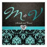 La aguamarina elegante azul/el boda negro del dama comunicado