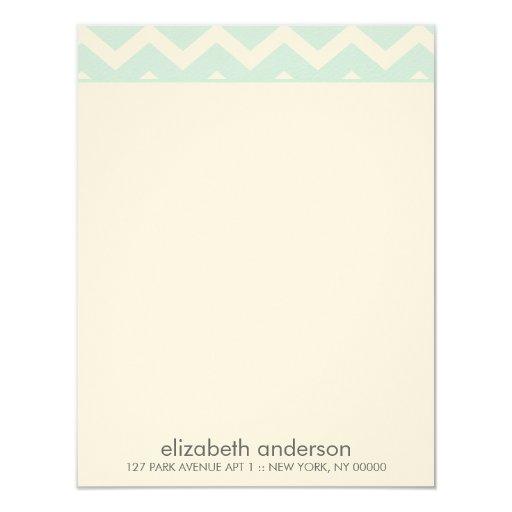 La aguamarina elegante zigzaguea las tarjetas de invitación personalizada