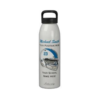 La aguamarina raya la botella blanca de la liberta botella de agua reutilizable