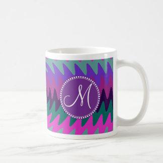 La aguamarina rosada púrpura del monograma de enca taza