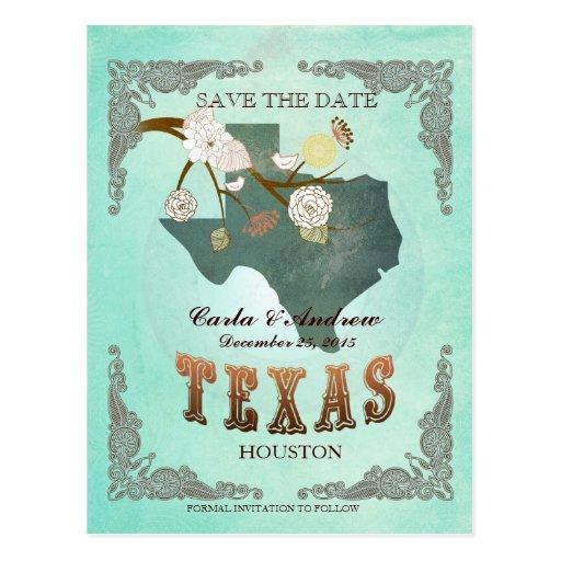 La aguamarina verde ahorra la fecha - mapa de TX Postales