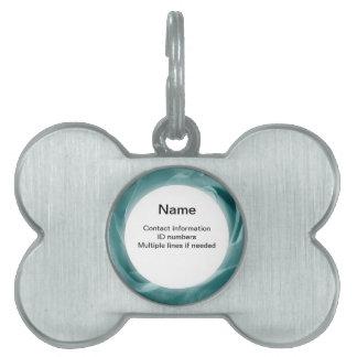 La aguamarina vibrante subió la foto floral placa de nombre de mascota