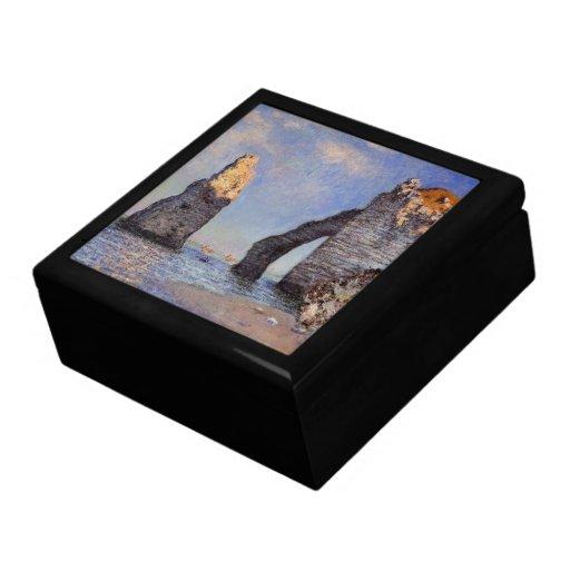 La aguja de la roca y el Porte d'Aval - C. Monet Joyero Cuadrado Grande