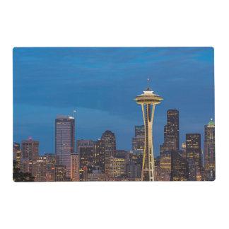 La aguja del espacio y la Seattle céntrica Tapete Individual