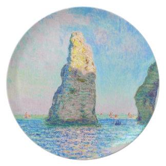 La aguja y el Porte Claude Monet d'Aval de la roca Plato De Cena