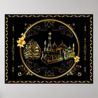 La alabanza de oro esté a Alá, mezquita Posters