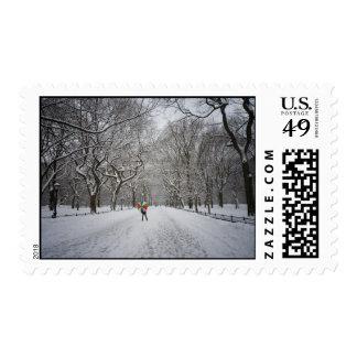 La alameda en invierno, Central Park, New York Estampillas