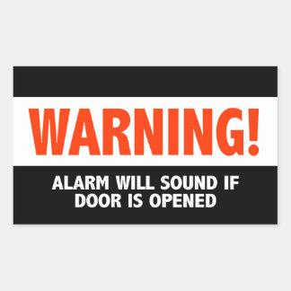 La alarma amonestadora sonará si se abre la puerta pegatina rectangular