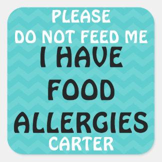 La alarma de la alergia alimentaria no alimenta a pegatina cuadrada