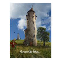 leaning towers, countryside, village, tower, buildings, fairytales, fantasy, surreal art, dreamland, digital art, weird, cow, strawman, path, funny, way, wonderland, medow, illustration, scenery, bent, trees, scarecrow, home, houses, houk, gift, eerie, fun, adorable, Postcard with custom graphic design