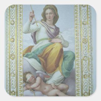 La alegoría de la castidad (fresco) pegatina cuadrada