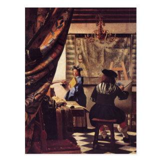 La alegoría de la pintura de Juan Vermeer Postales