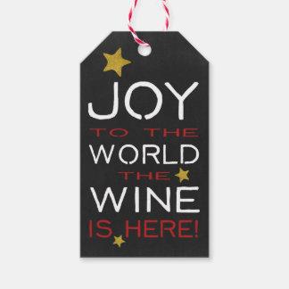 La alegría al mundo el vino está aquí etiquetas para regalos