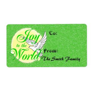 La alegría al regalo del navidad del mundo marca etiquetas de envío