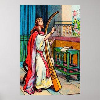 La alegría de David del salmo 32 sobre el poster d