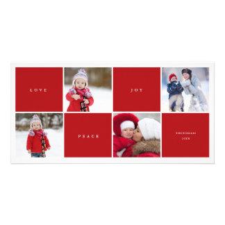 La alegría de la paz del amor bloquea la tarjeta tarjetas fotográficas personalizadas