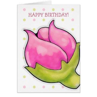 La alegría del capullo de rosa puntea la tarjeta d