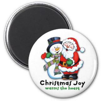 La alegría del navidad calienta el corazón imán redondo 5 cm