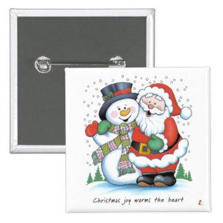 La alegría del navidad calienta el corazón pin cuadrada 5 cm