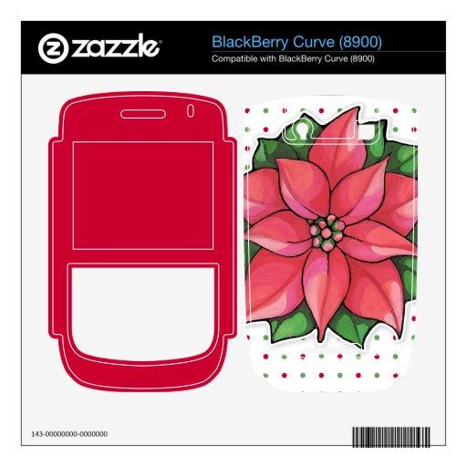 La alegría del Poinsettia puntea la piel de la cur Calcomanías Para BlackBerry