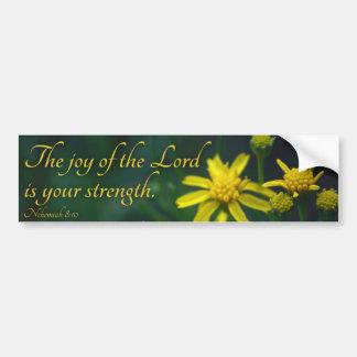 La alegría del señor es su flor del amarillo de la pegatina para coche