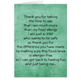 La alergia alimentaria le agradece cardar - tarjeta de felicitación