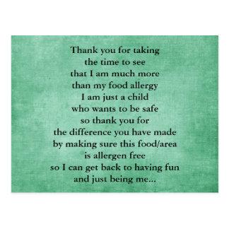 La alergia alimentaria le agradece las postales