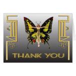 La aleta de la mariposa del art déco le agradece tarjetas