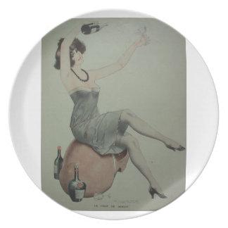 la aleta francesa de los años 20 bebe la placa de  plato