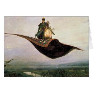 La alfombra de vuelo tarjeta de felicitación