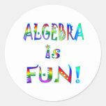 La álgebra es diversión pegatinas redondas