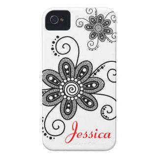 La alheña inspiró las flores espirales (negro y el iPhone 4 protectores